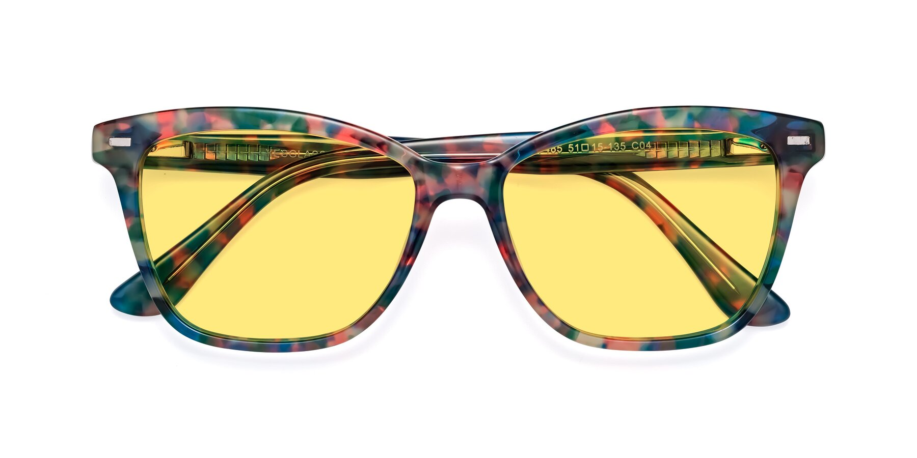 Folded Front of 17485 in Floral Tortoise with Medium Yellow Tinted Lenses