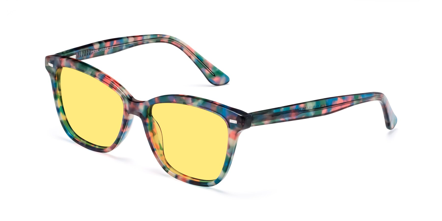 Angle of 17485 in Floral Tortoise with Medium Yellow Tinted Lenses