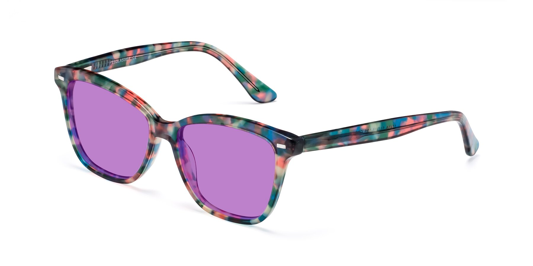 Angle of 17485 in Floral Tortoise with Medium Purple Tinted Lenses