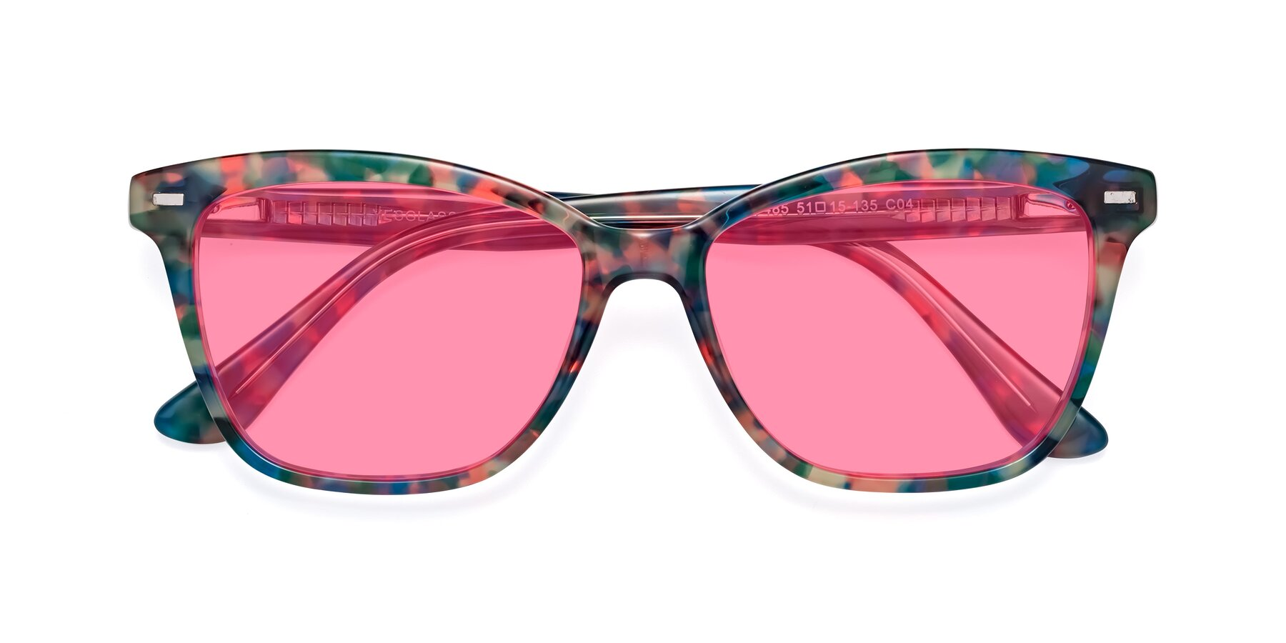 Folded Front of 17485 in Floral Tortoise with Pink Tinted Lenses