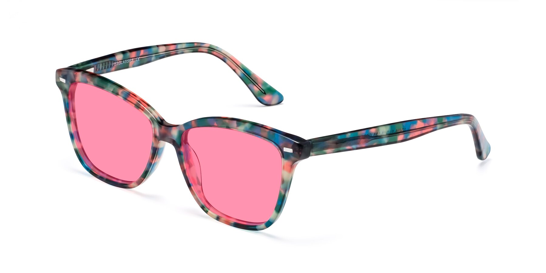Angle of 17485 in Floral Tortoise with Pink Tinted Lenses