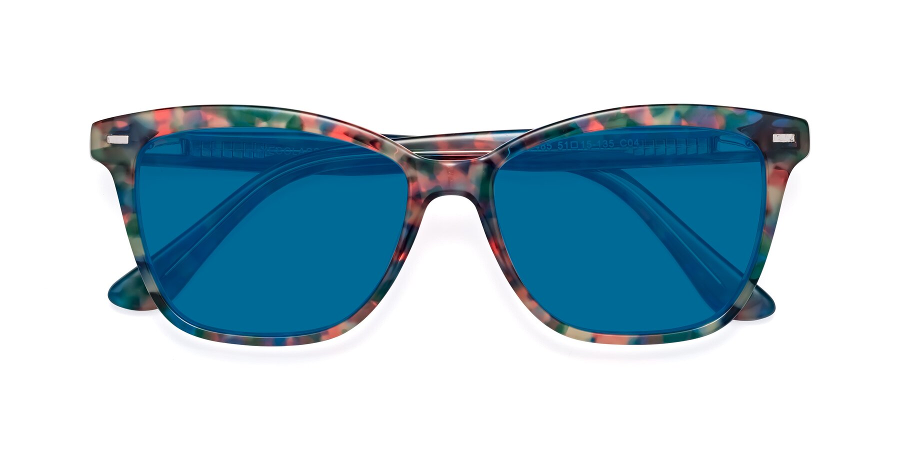 Folded Front of 17485 in Floral Tortoise with Blue Tinted Lenses