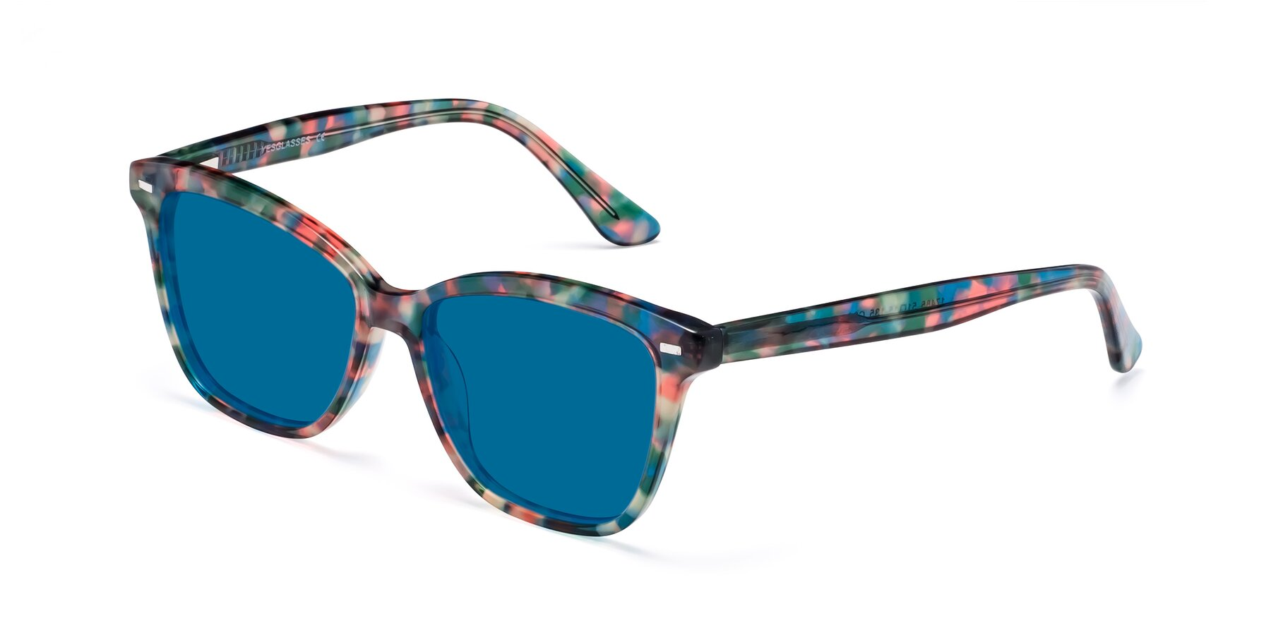 Angle of 17485 in Floral Tortoise with Blue Tinted Lenses