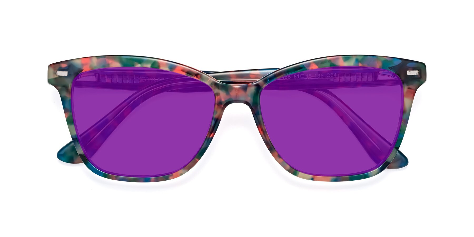 Folded Front of 17485 in Floral Tortoise with Purple Tinted Lenses
