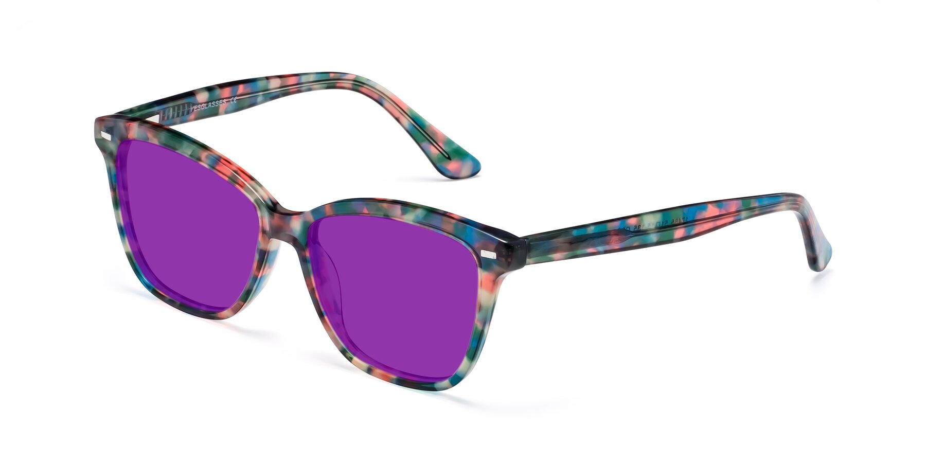 Angle of 17485 in Floral Tortoise with Purple Tinted Lenses