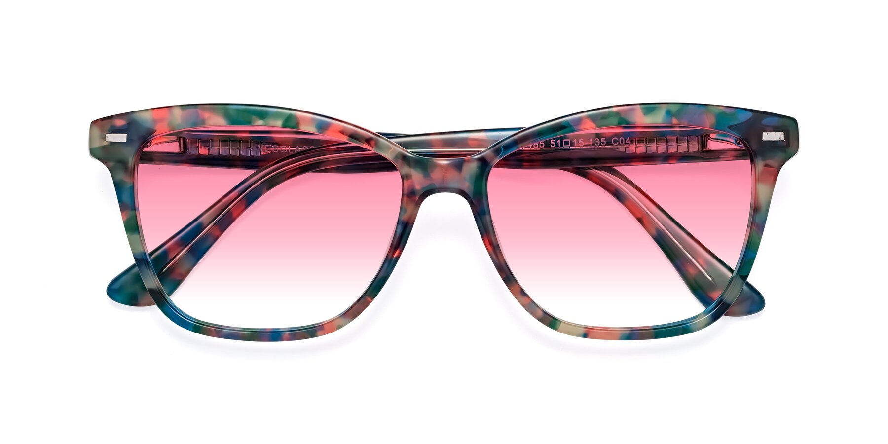 Folded Front of 17485 in Floral Tortoise with Pink Gradient Lenses