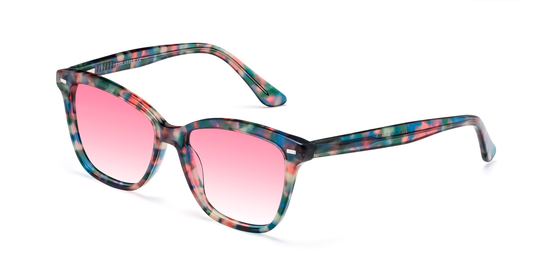 Angle of 17485 in Floral Tortoise with Pink Gradient Lenses
