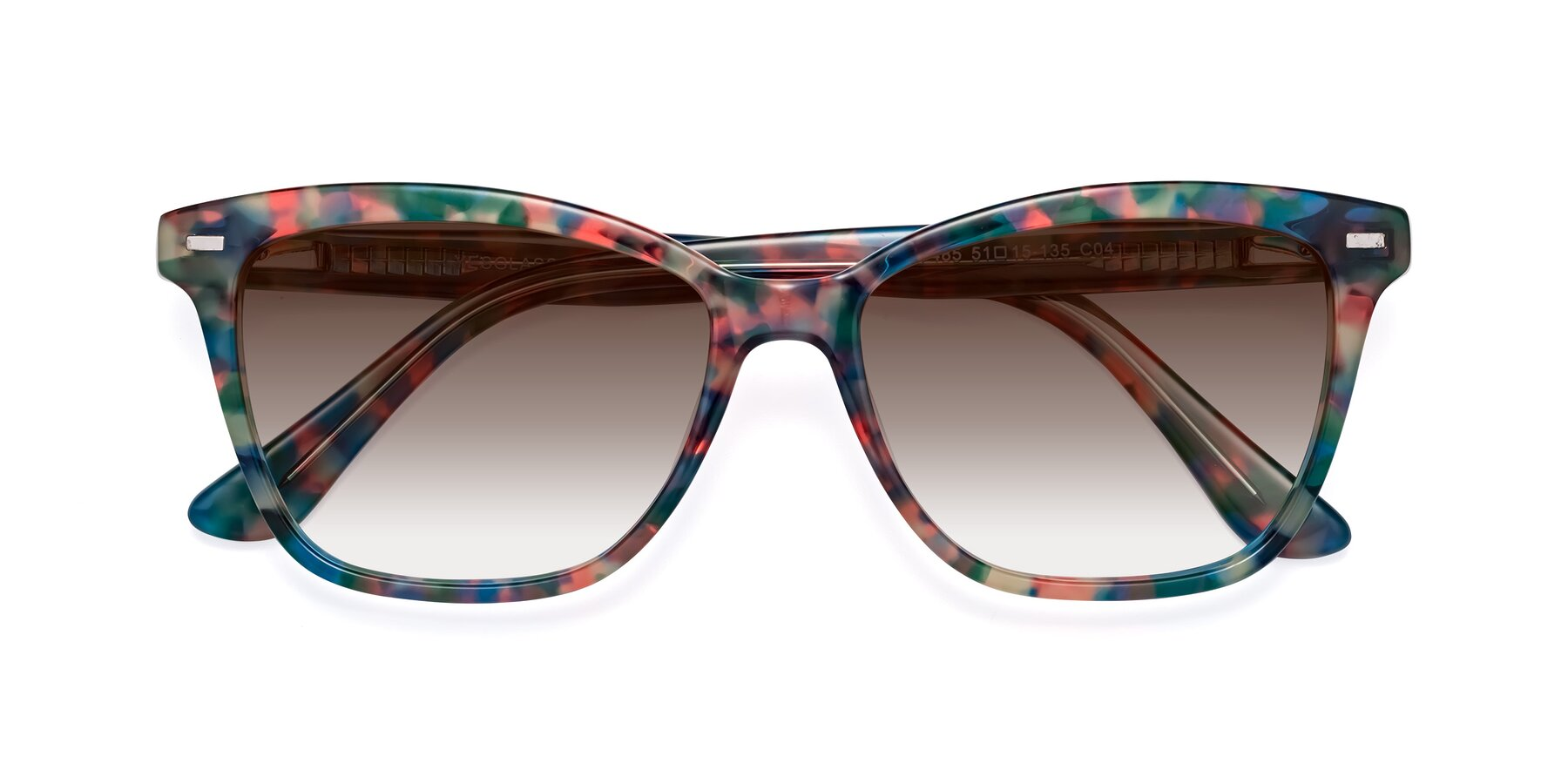 Folded Front of 17485 in Floral Tortoise with Brown Gradient Lenses