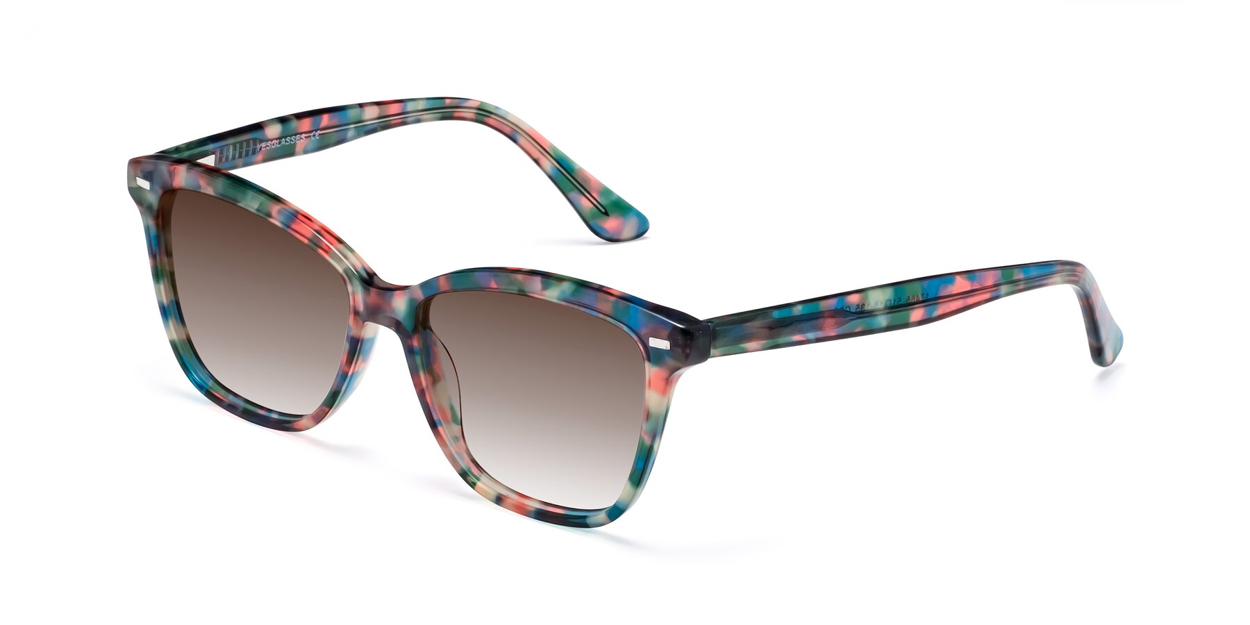 Angle of 17485 in Floral Tortoise with Brown Gradient Lenses