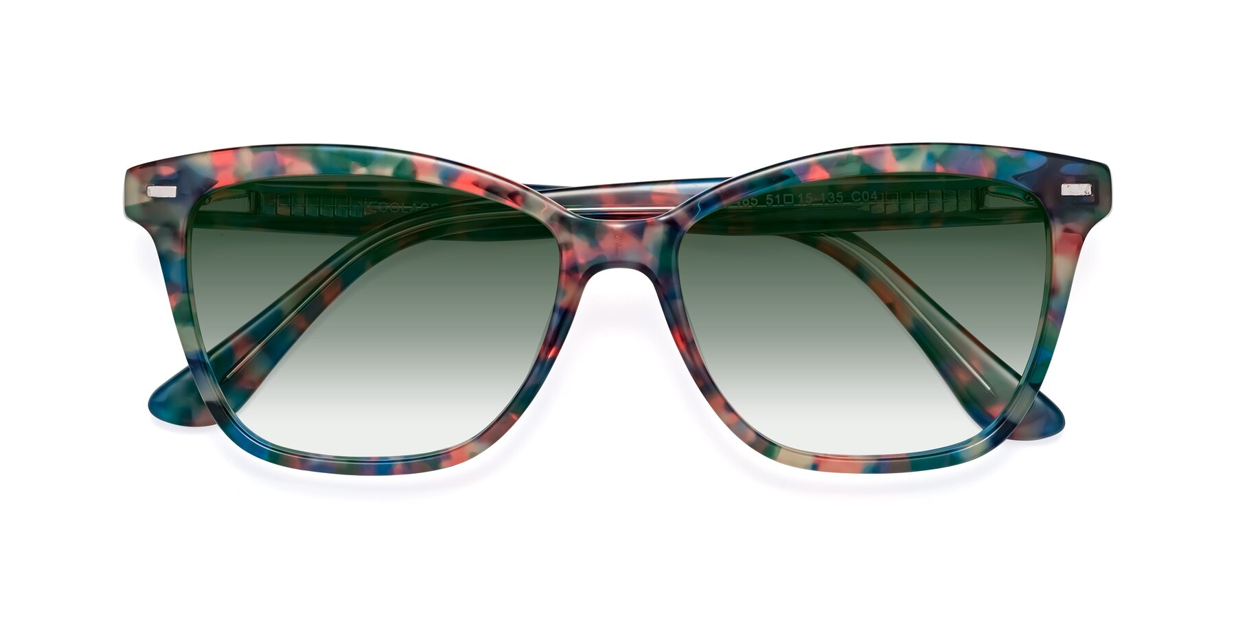 Folded Front of 17485 in Floral Tortoise with Green Gradient Lenses