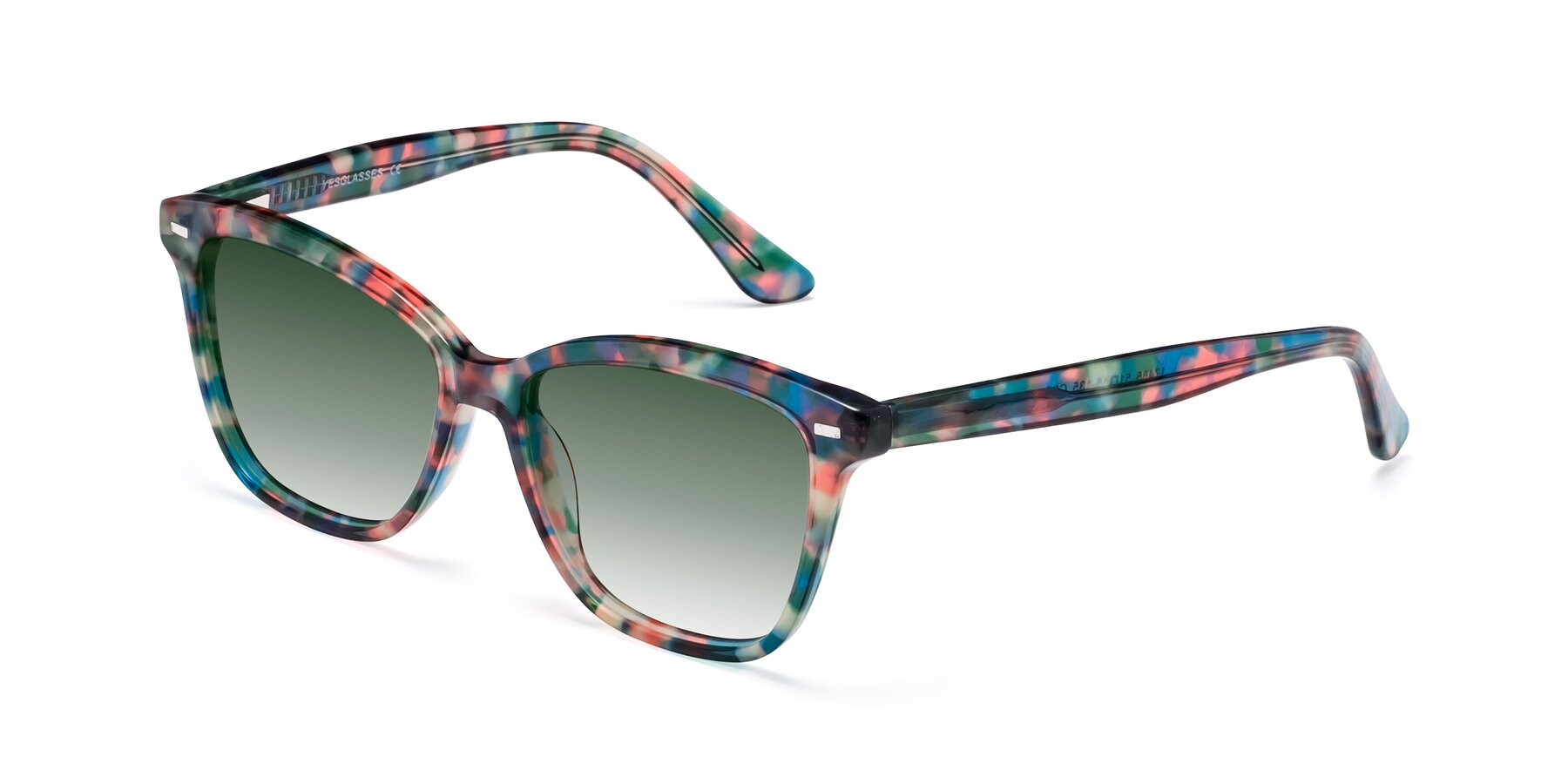 Angle of 17485 in Floral Tortoise with Green Gradient Lenses