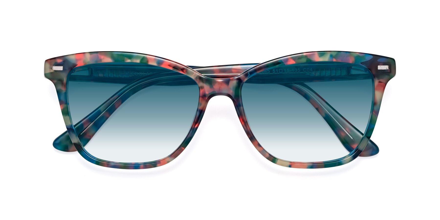 Folded Front of 17485 in Floral Tortoise with Blue Gradient Lenses