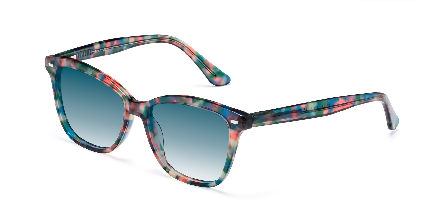 Angle of 17485 in Floral Tortoise with Blue Gradient Lenses