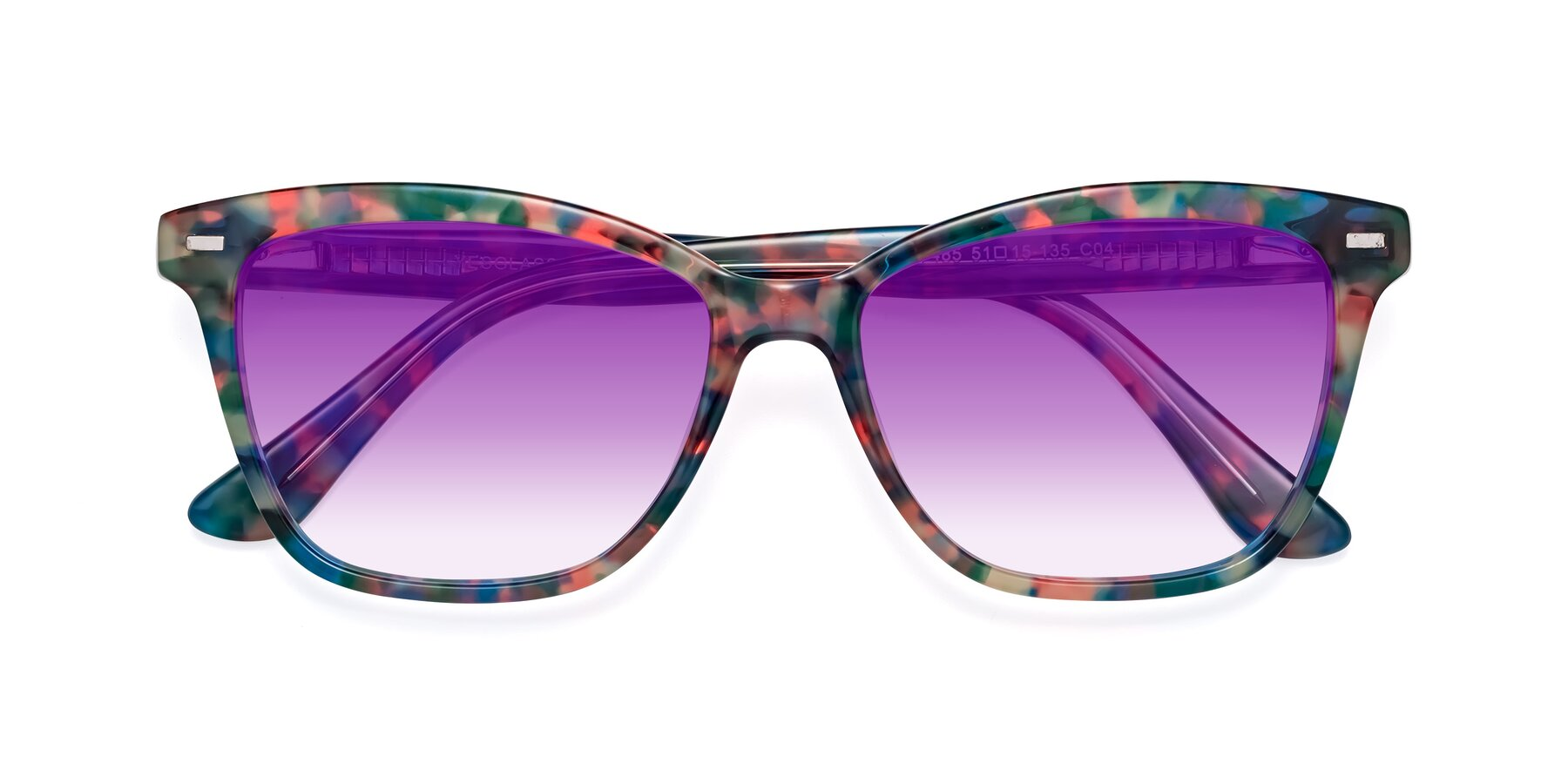 Folded Front of 17485 in Floral Tortoise with Purple Gradient Lenses