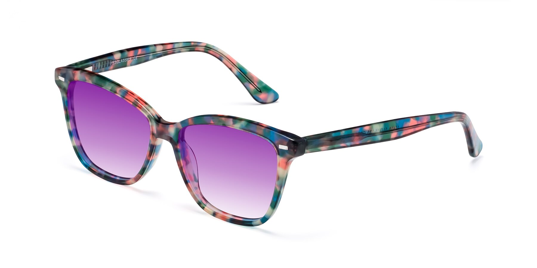 Angle of 17485 in Floral Tortoise with Purple Gradient Lenses