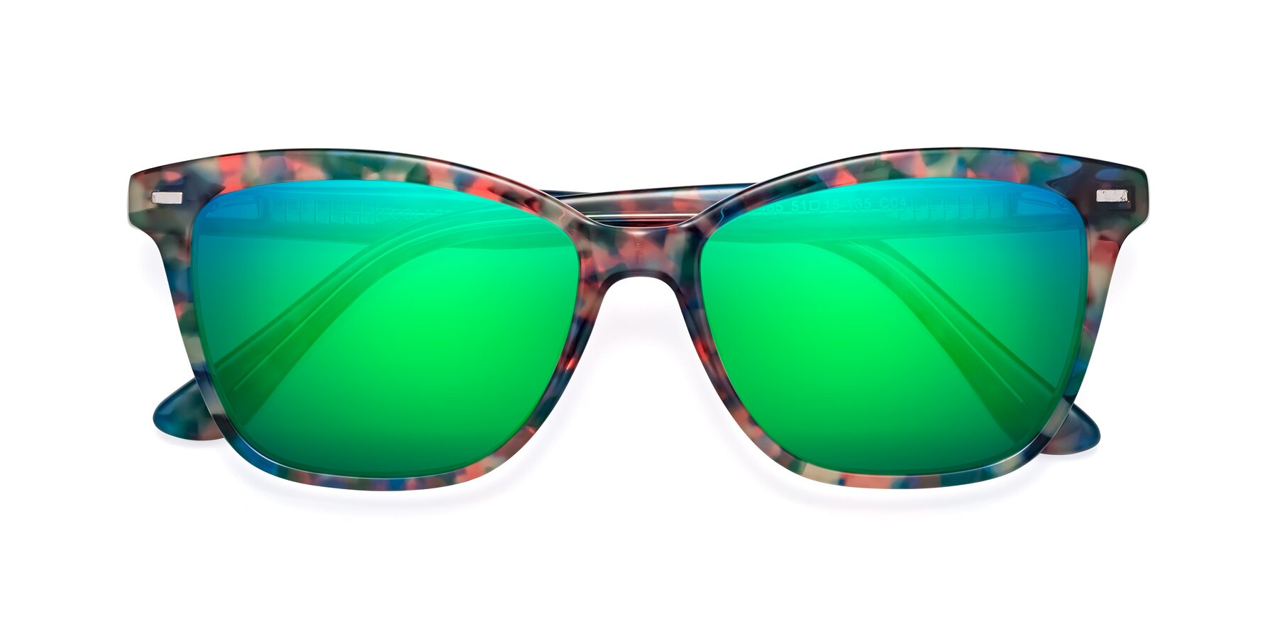 Folded Front of 17485 in Floral Tortoise with Green Mirrored Lenses