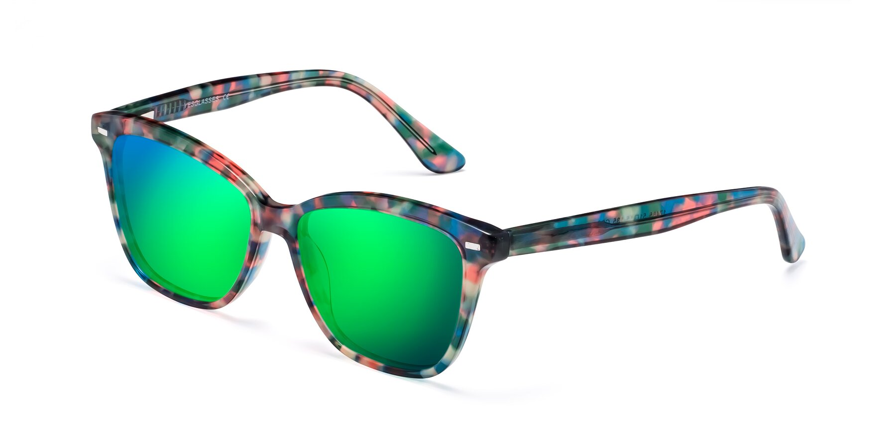 Angle of 17485 in Floral Tortoise with Green Mirrored Lenses