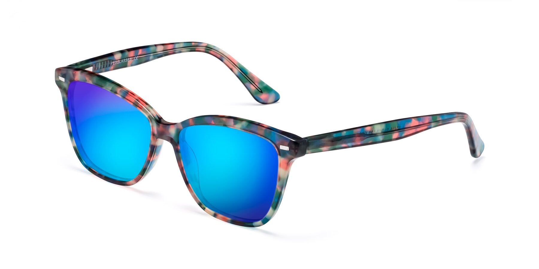 Angle of 17485 in Floral Tortoise with Blue Mirrored Lenses