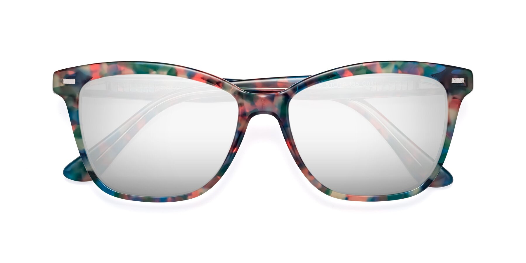 Folded Front of 17485 in Floral Tortoise with Silver Mirrored Lenses