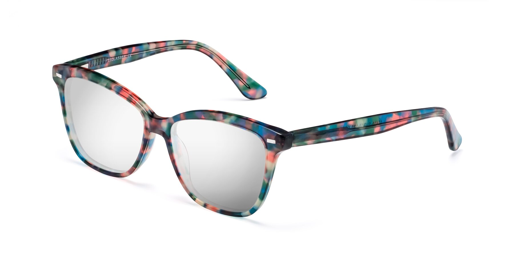 Angle of 17485 in Floral Tortoise with Silver Mirrored Lenses