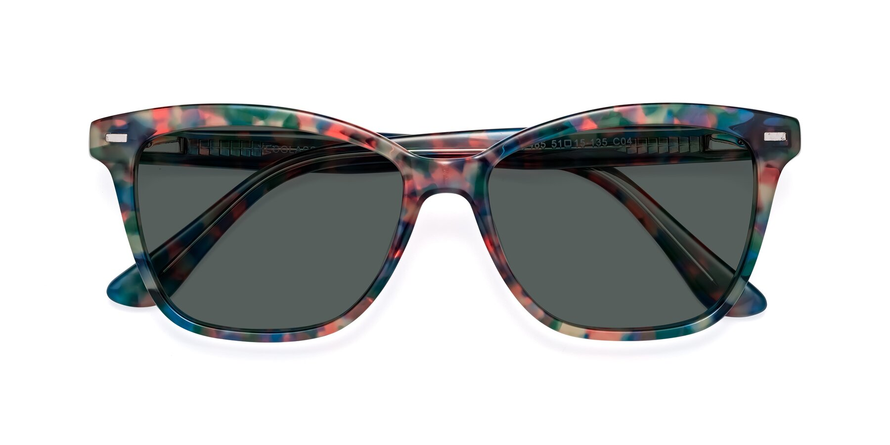 Folded Front of 17485 in Floral Tortoise with Gray Polarized Lenses