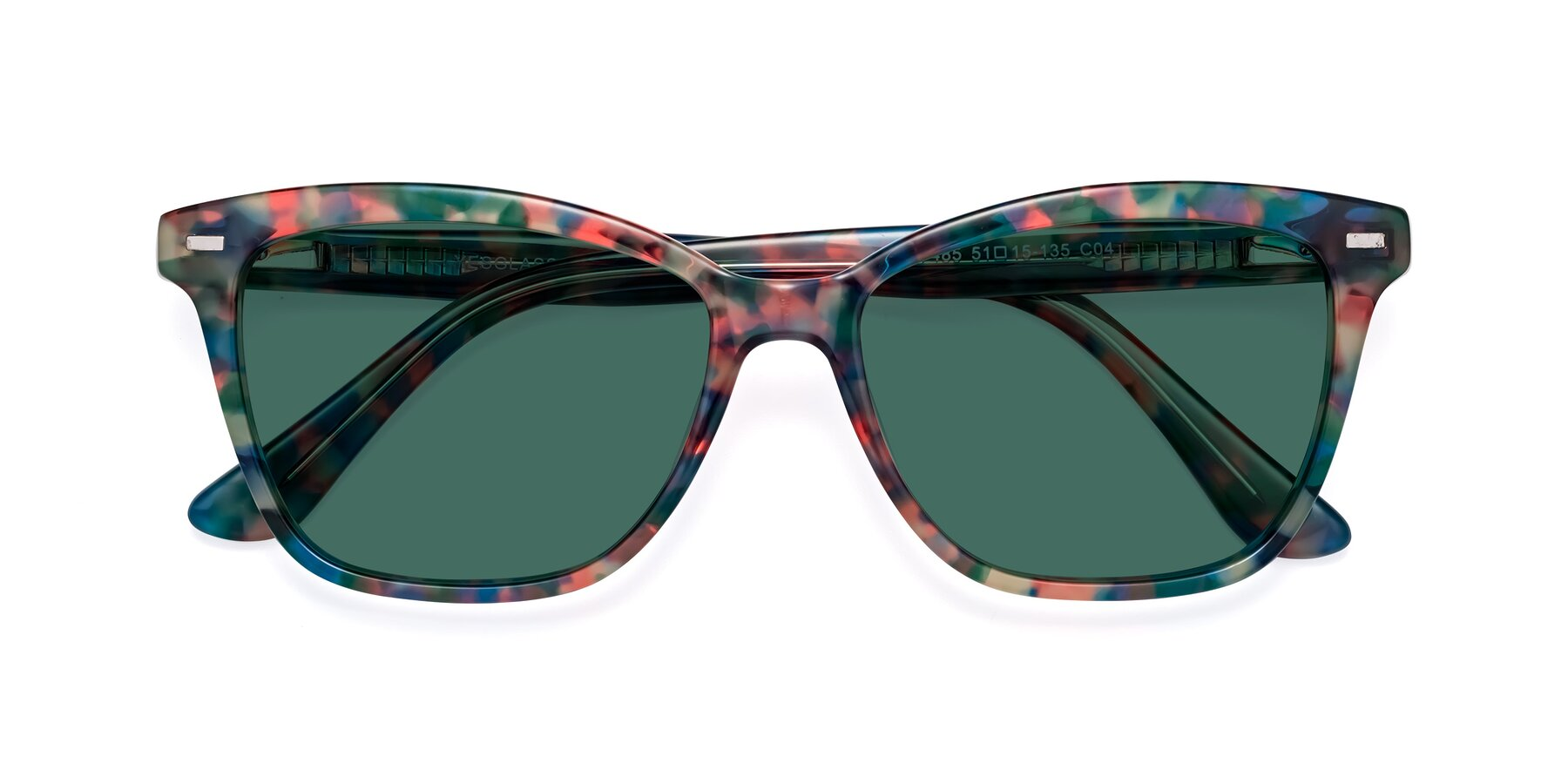 Folded Front of 17485 in Floral Tortoise with Green Polarized Lenses