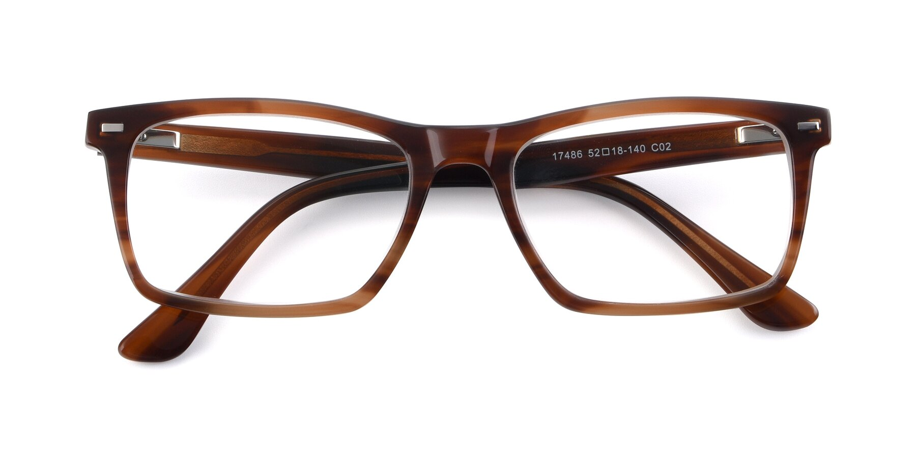 Folded Front of 17486 in Brown with Clear Eyeglass Lenses