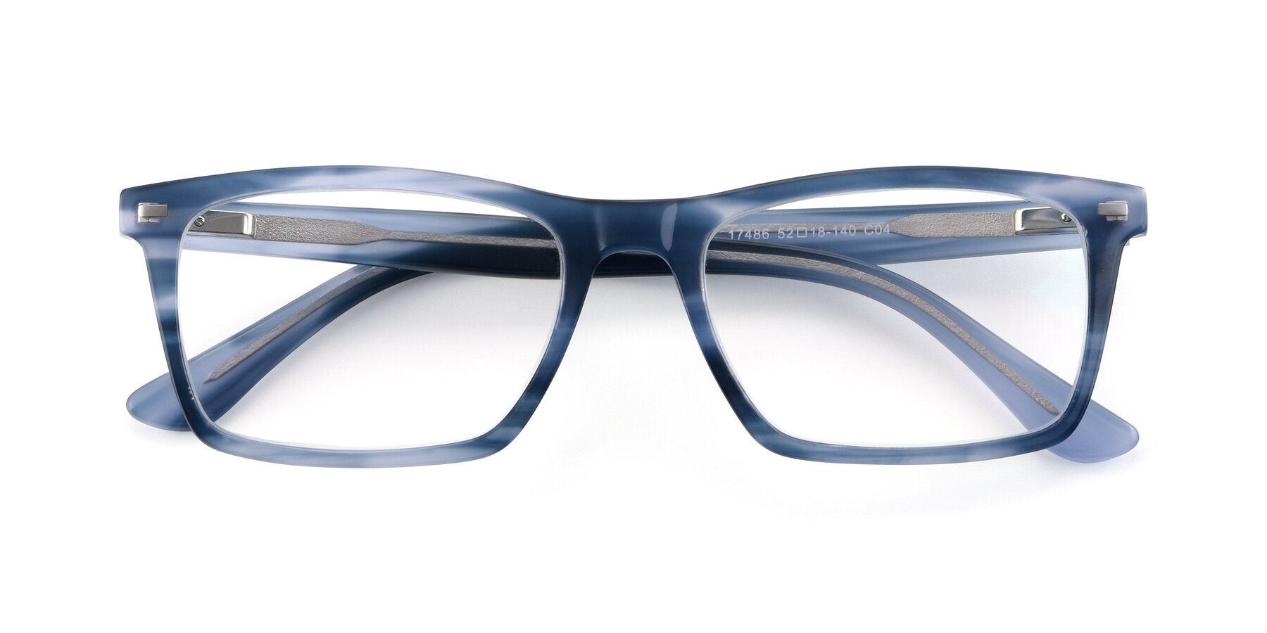 Folded Front of 17486 in Stripe Blue with Clear Eyeglass Lenses