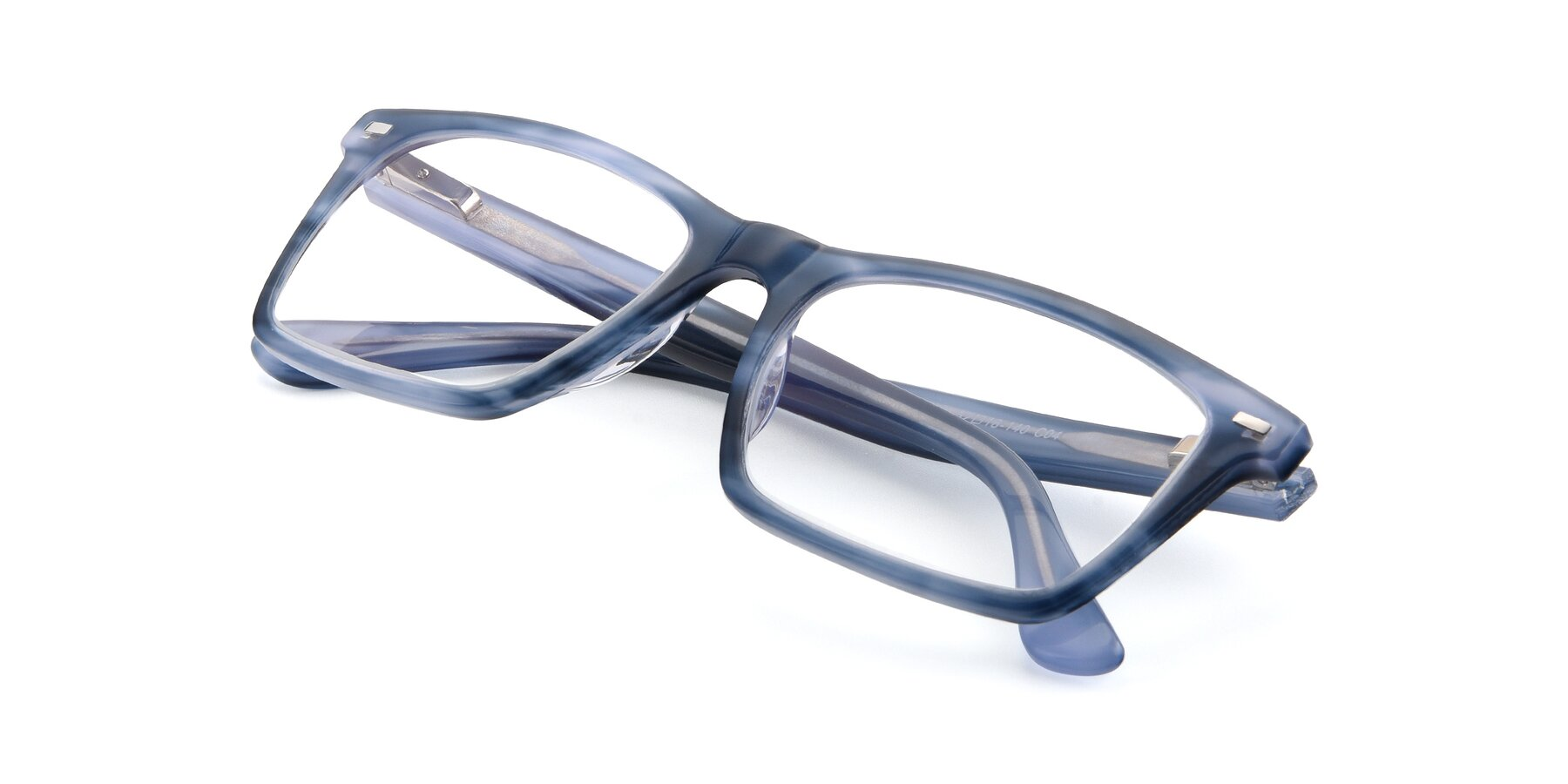 View of 17486 in Stripe Blue with Clear Eyeglass Lenses