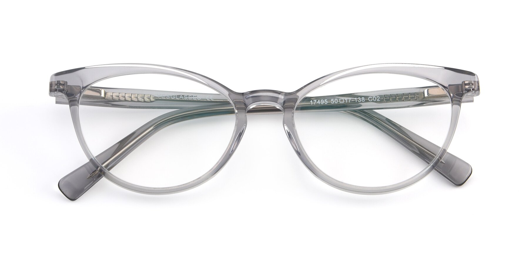 Folded Front of 17495 in Grey-White with Clear Eyeglass Lenses