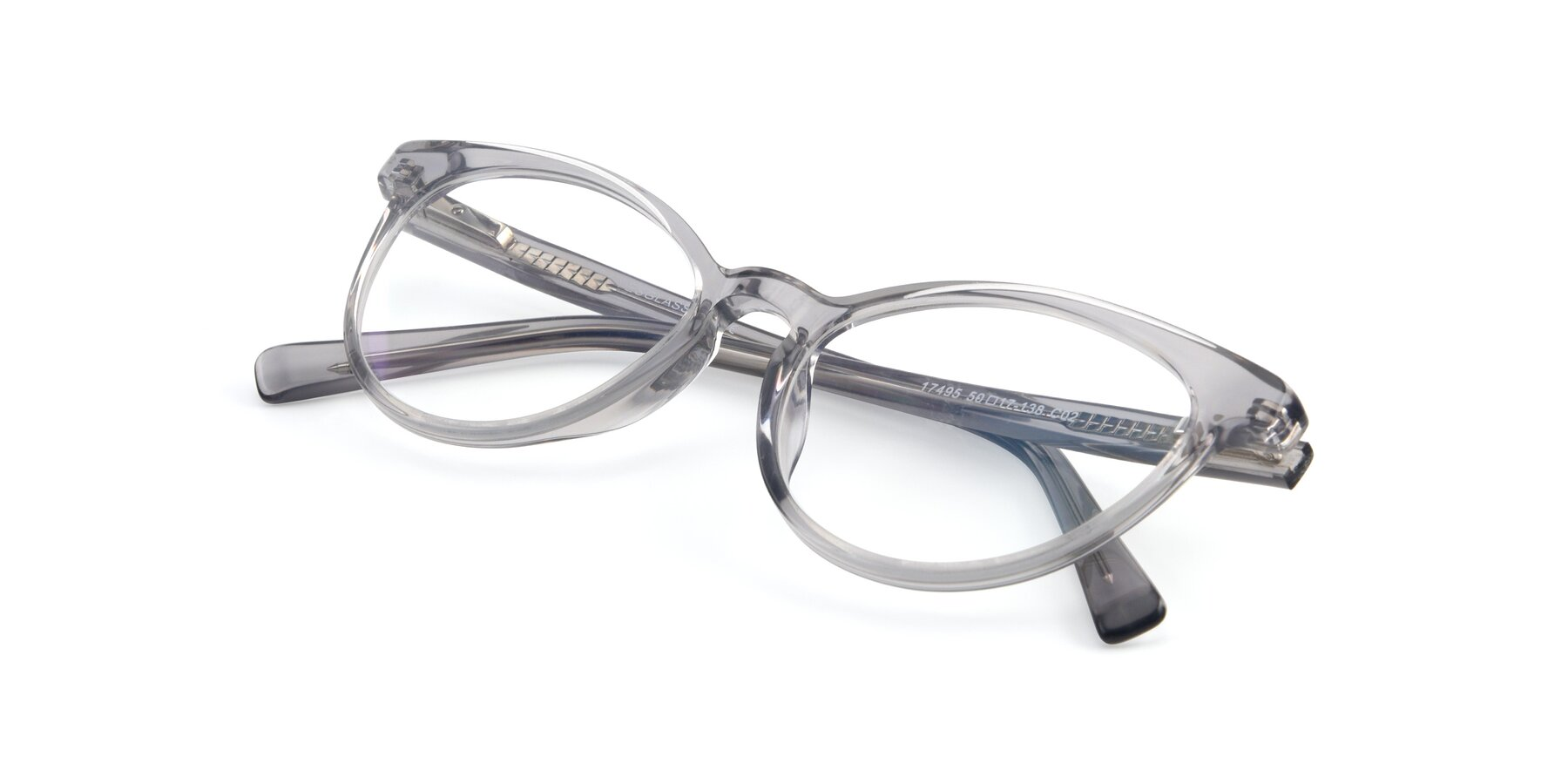 View of 17495 in Grey-White with Clear Eyeglass Lenses