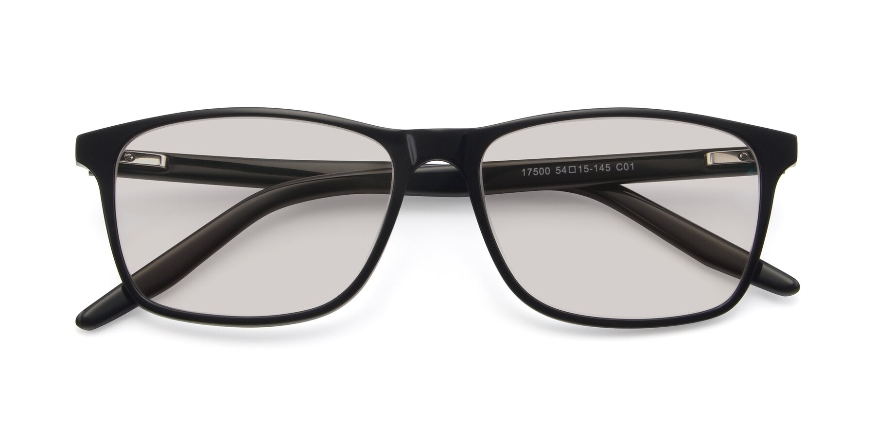 Folded Front of 17500 in Black with Light Brown Tinted Lenses