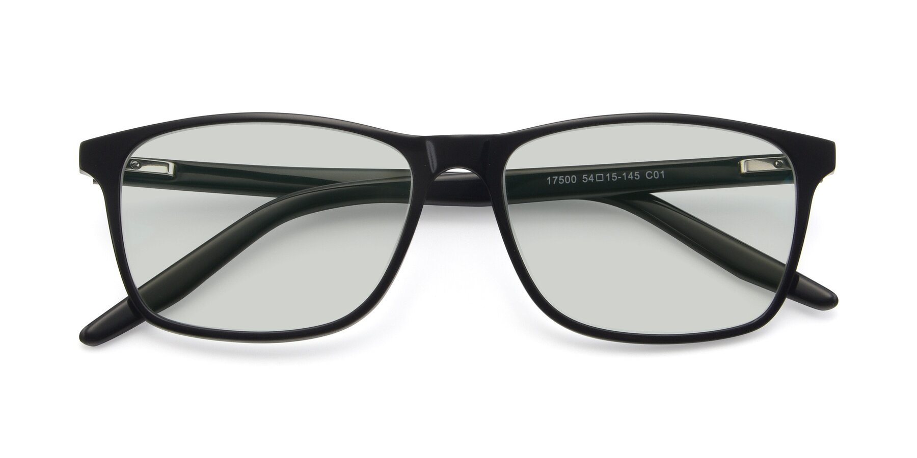 Folded Front of 17500 in Black with Light Green Tinted Lenses