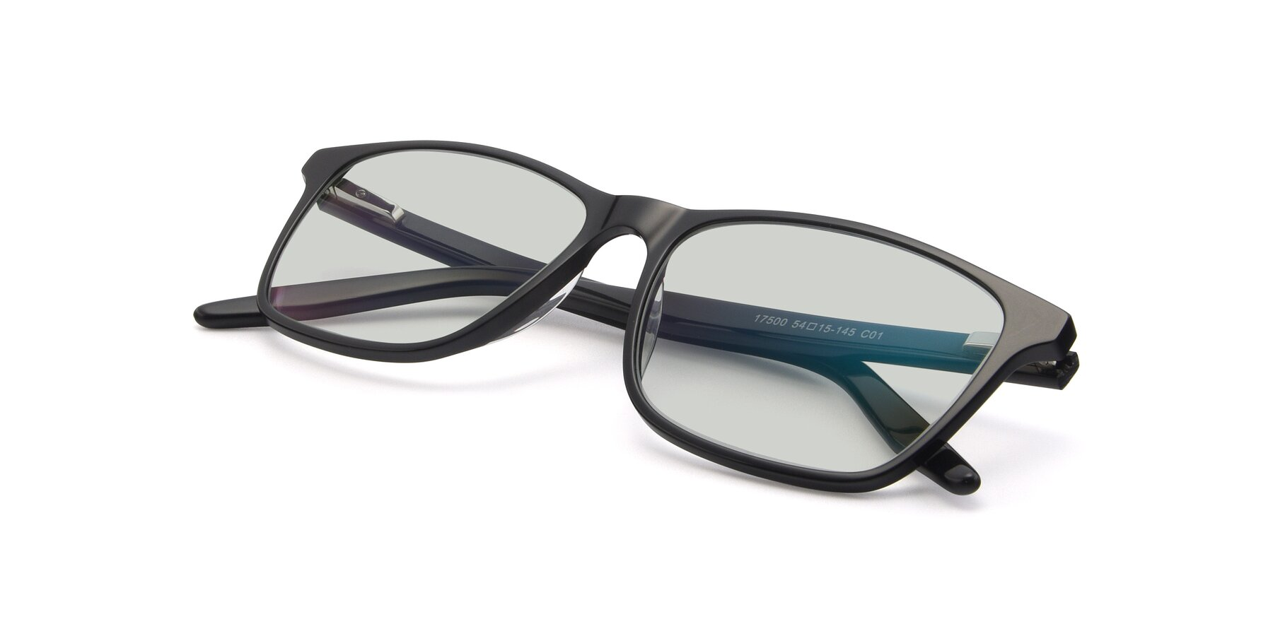 View of 17500 in Black with Light Green Tinted Lenses