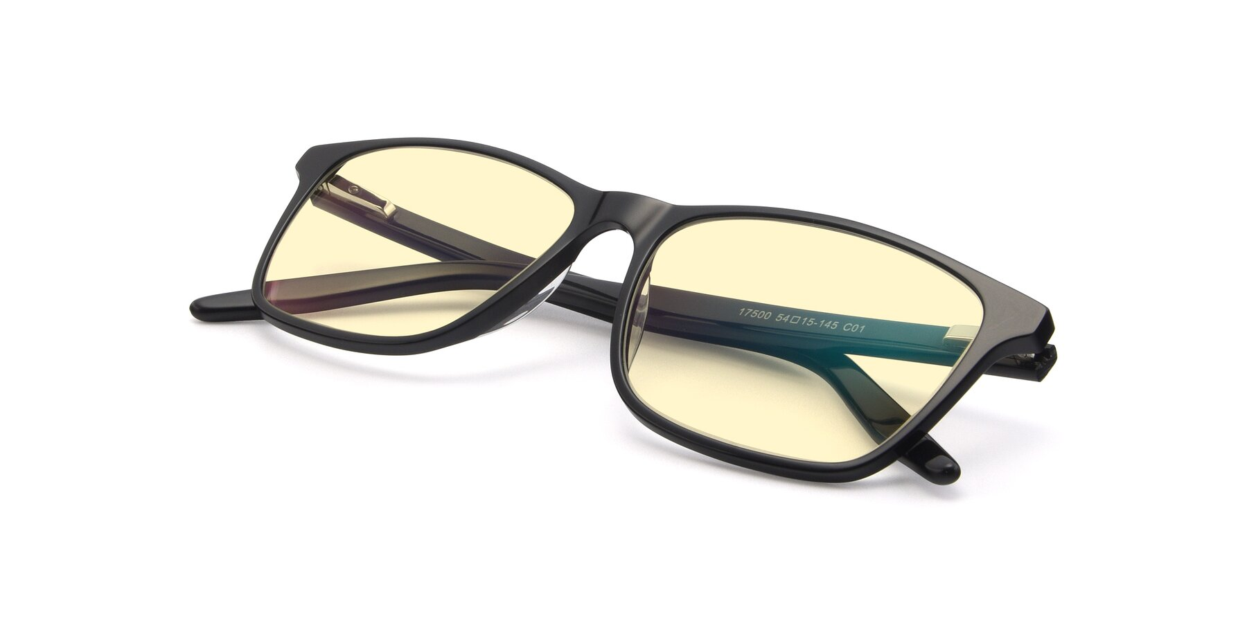 View of 17500 in Black with Light Yellow Tinted Lenses