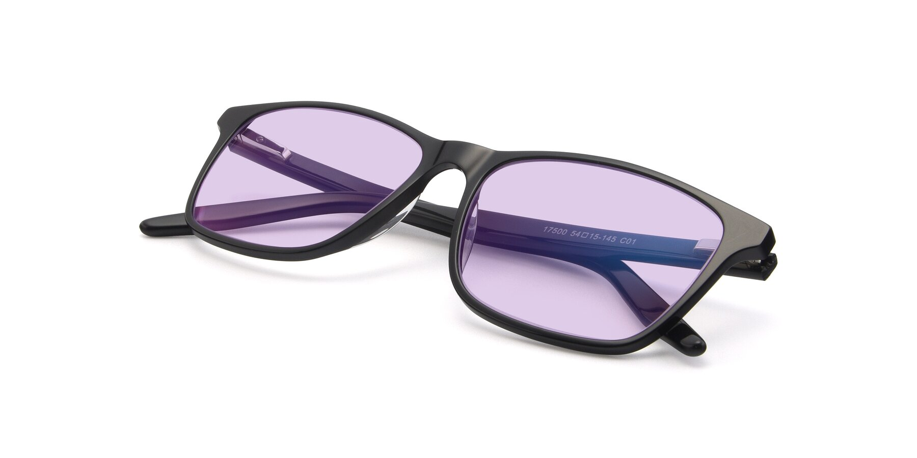 View of 17500 in Black with Light Purple Tinted Lenses
