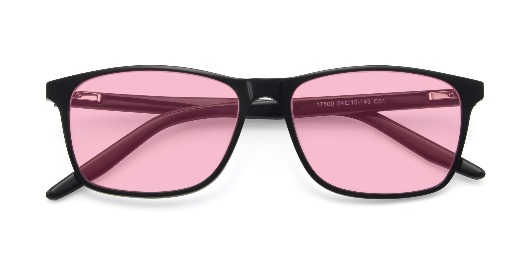 Folded Front of 17500 in Black with Medium Pink Tinted Lenses