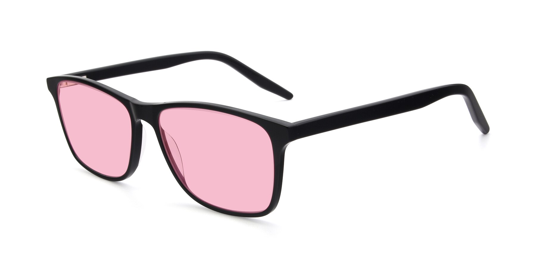 Angle of 17500 in Black with Medium Pink Tinted Lenses