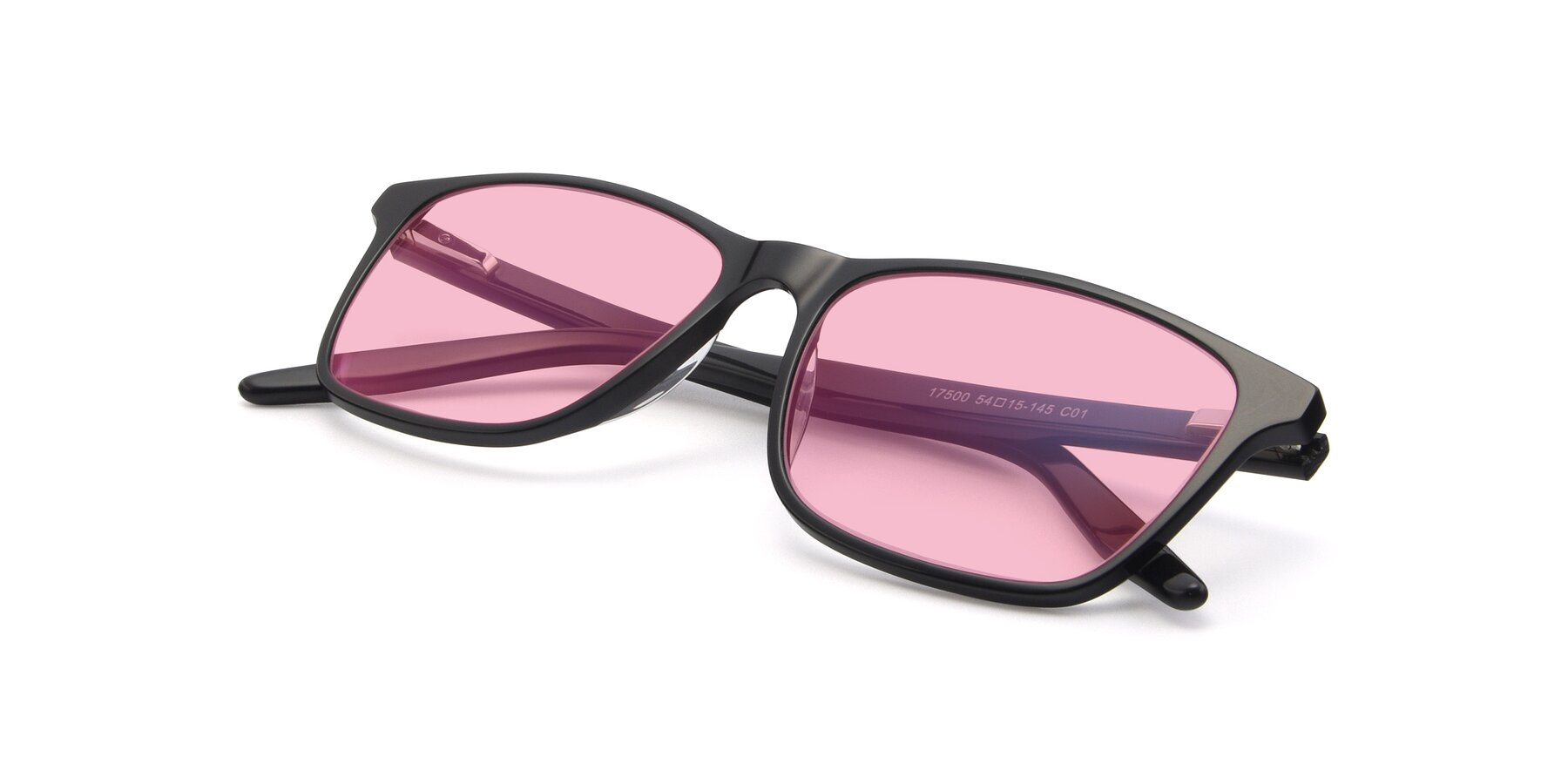 View of 17500 in Black with Medium Pink Tinted Lenses