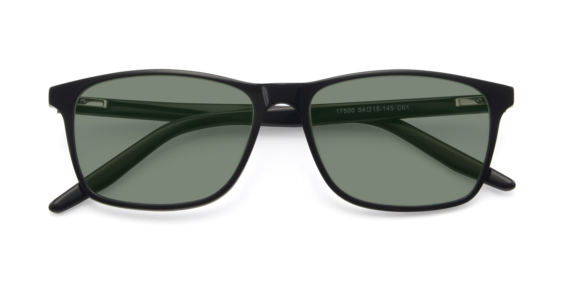 Folded Front of 17500 in Black with Medium Green Tinted Lenses
