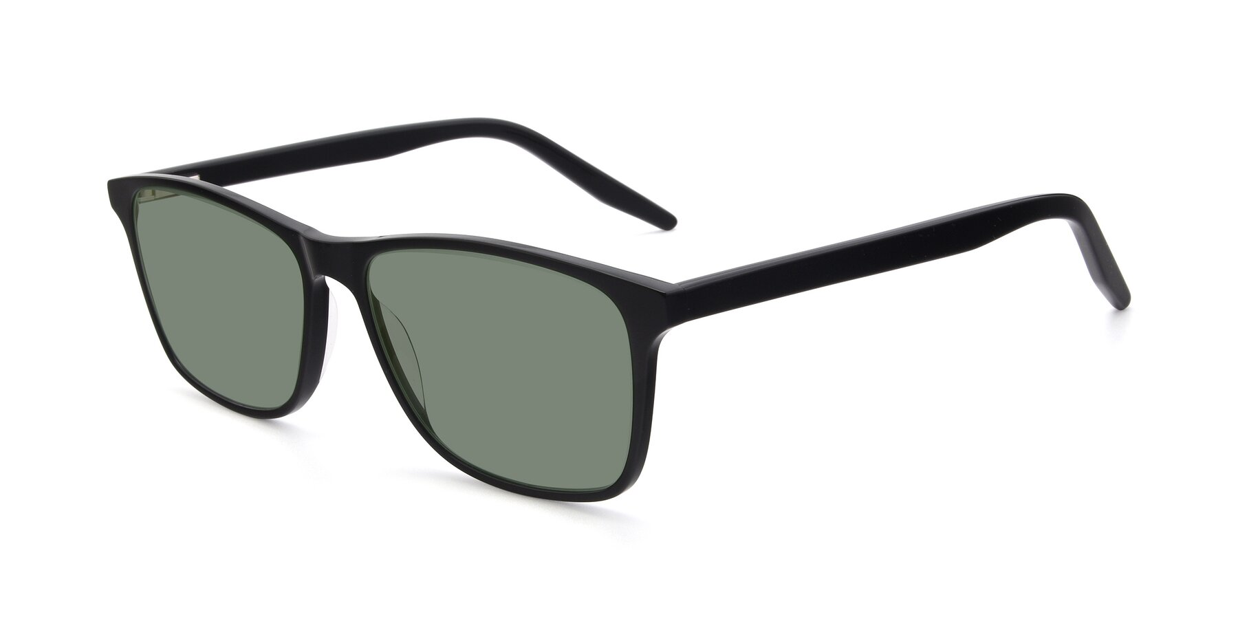 Angle of 17500 in Black with Medium Green Tinted Lenses