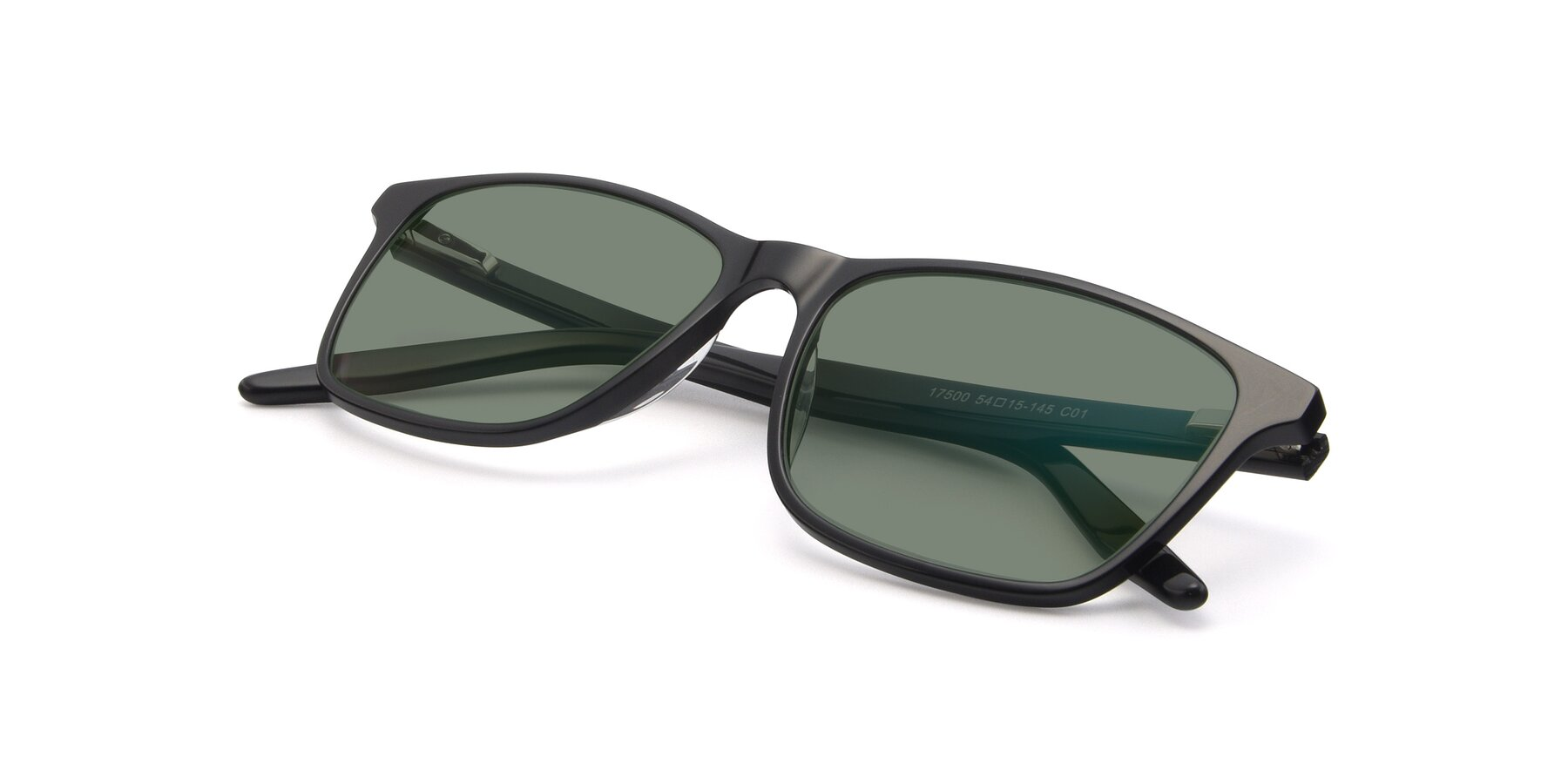 View of 17500 in Black with Medium Green Tinted Lenses
