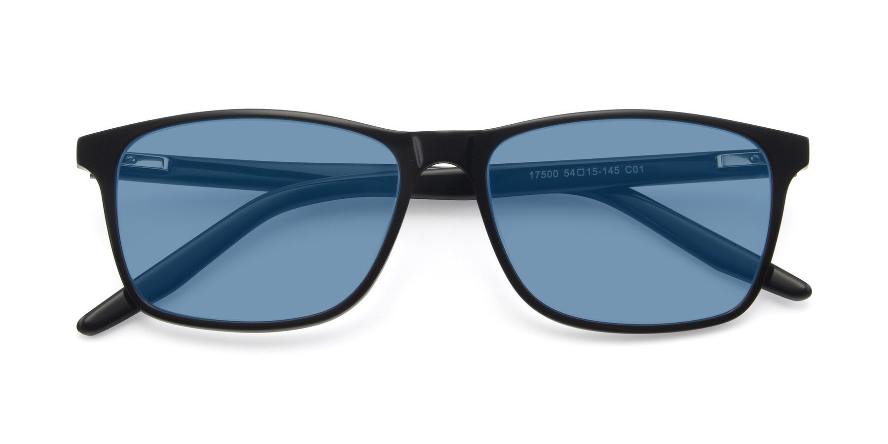 Folded Front of 17500 in Black with Medium Blue Tinted Lenses
