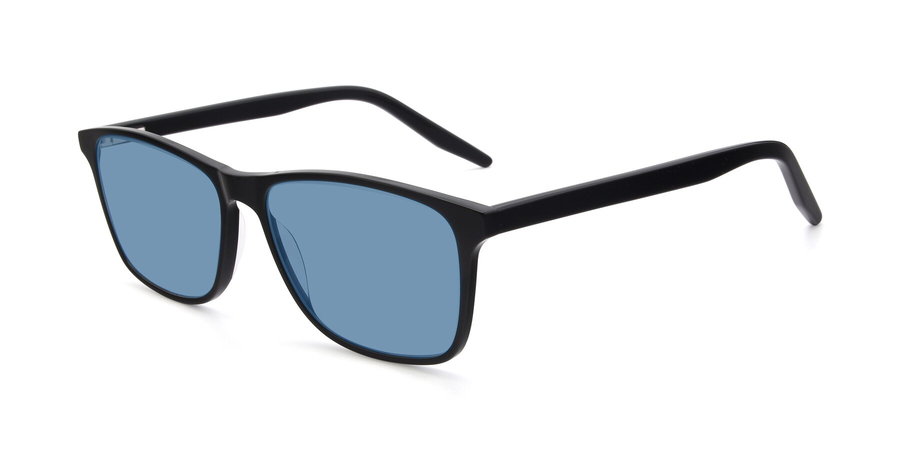 Angle of 17500 in Black with Medium Blue Tinted Lenses
