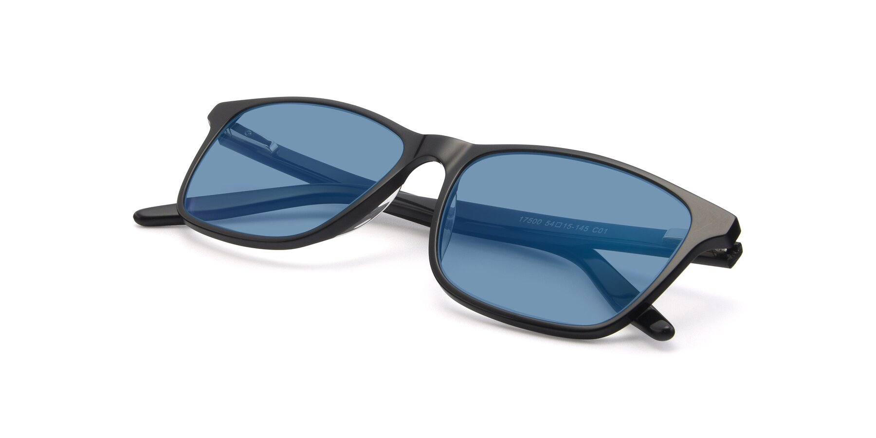View of 17500 in Black with Medium Blue Tinted Lenses