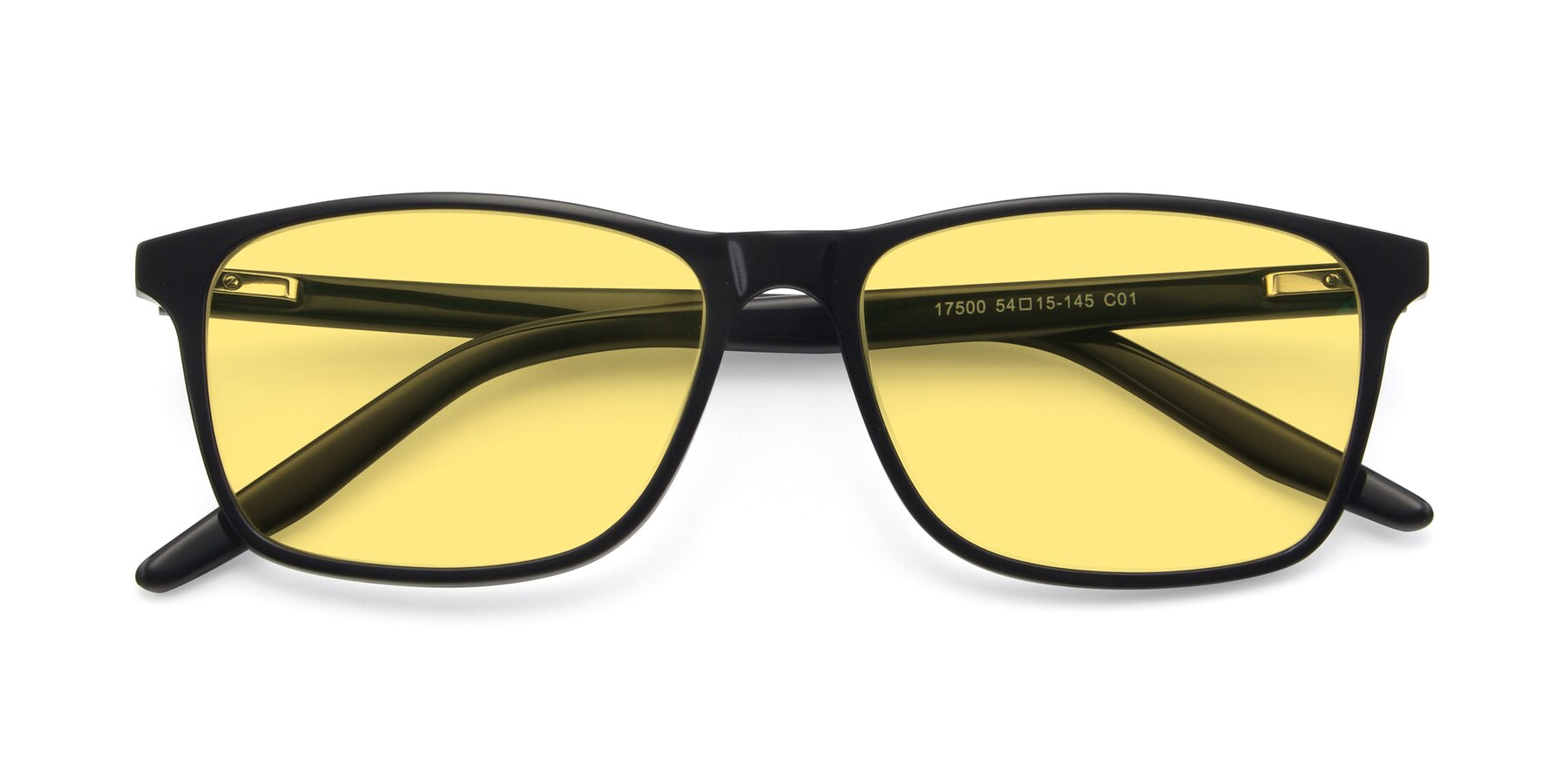 Folded Front of 17500 in Black with Medium Yellow Tinted Lenses