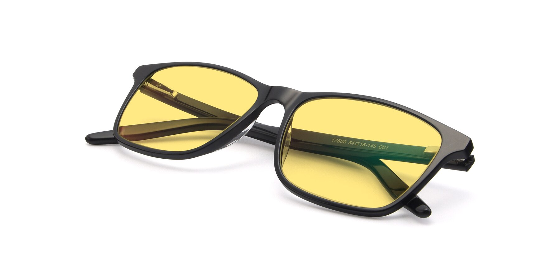 View of 17500 in Black with Medium Yellow Tinted Lenses