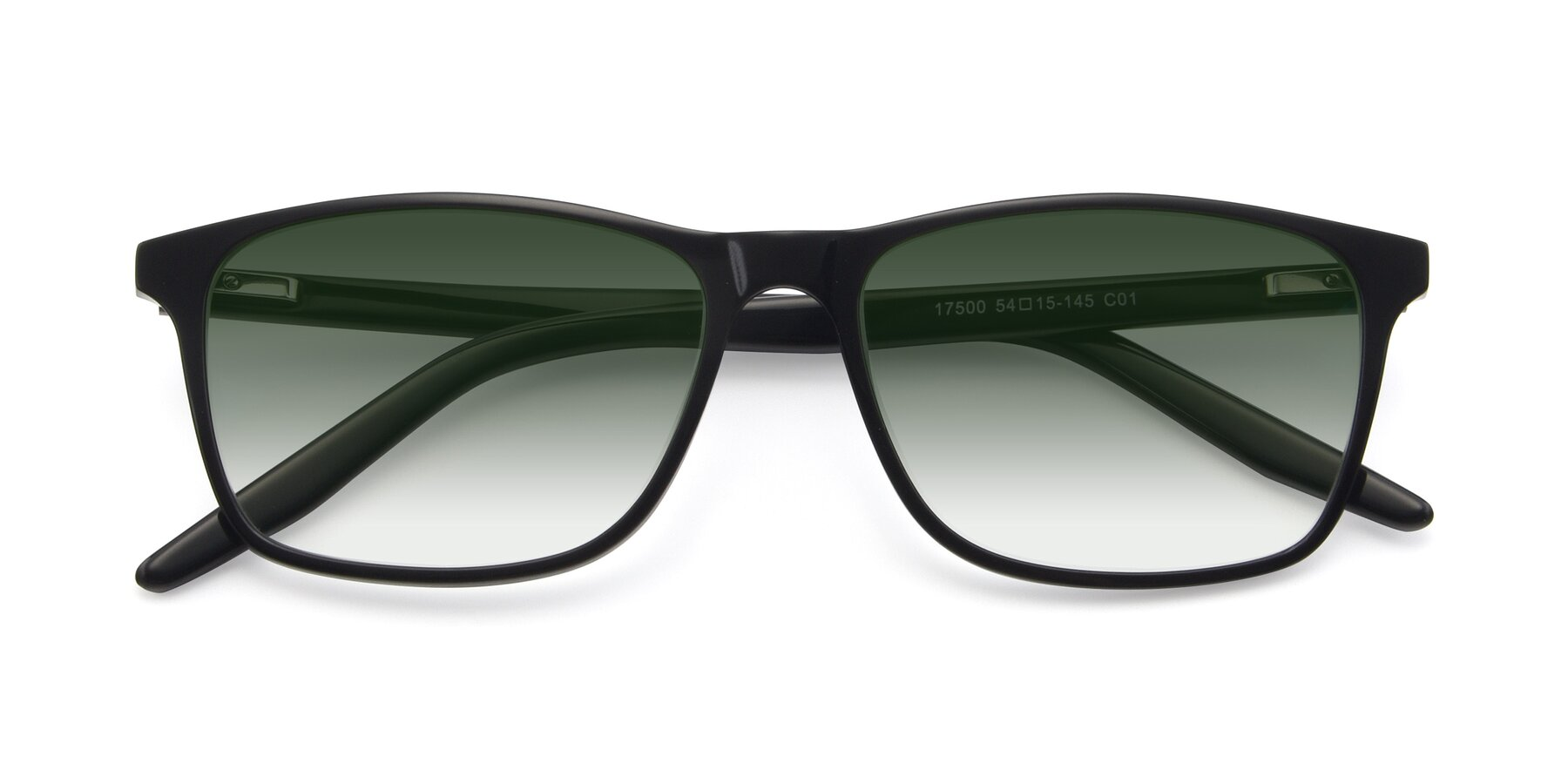 Folded Front of 17500 in Black with Green Gradient Lenses