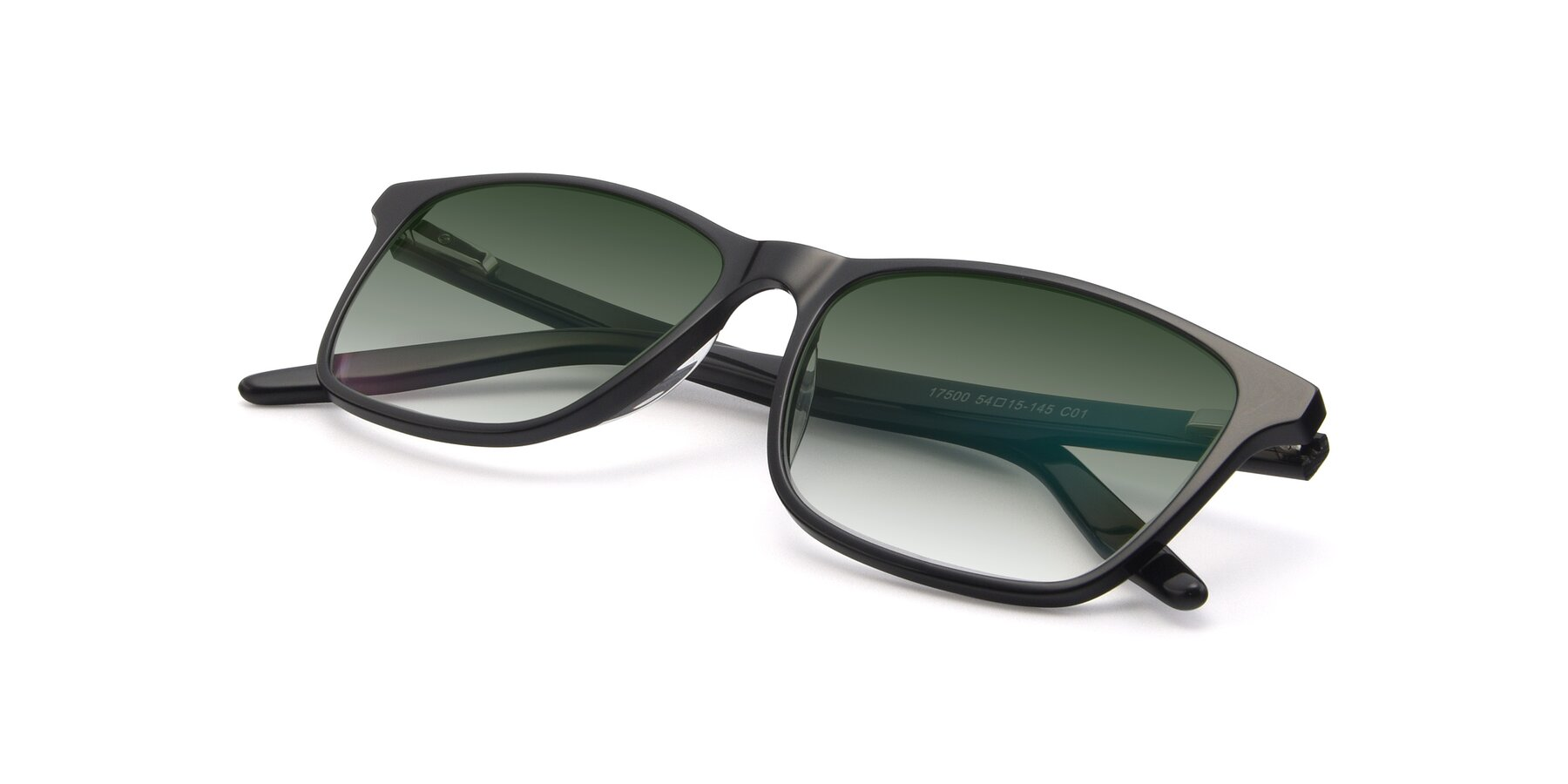 View of 17500 in Black with Green Gradient Lenses