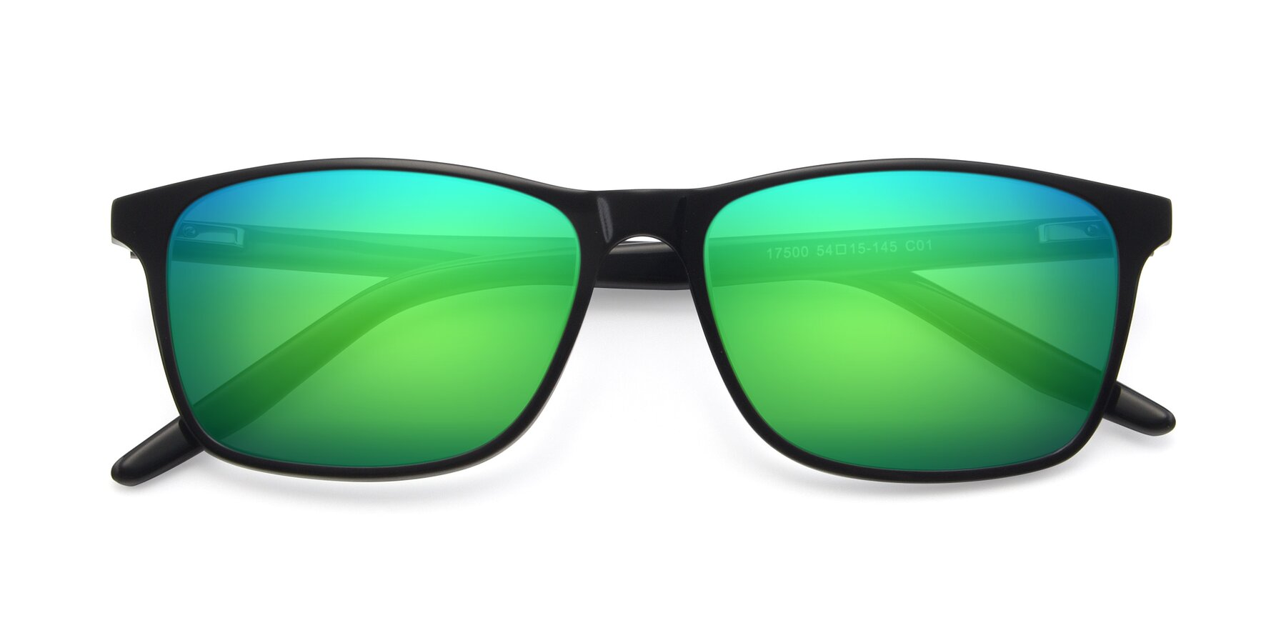 Folded Front of 17500 in Black with Green Mirrored Lenses